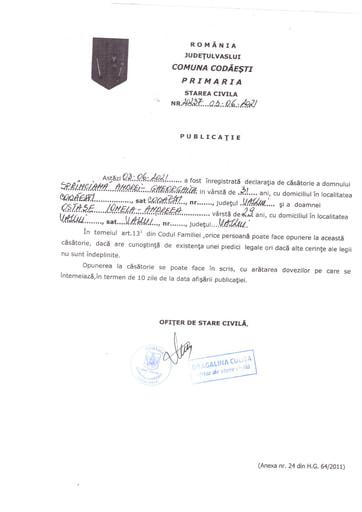 Pulbicație căsătorie Andrei SPRINCEANĂ