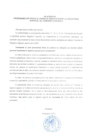 Informare persoane fizice si juridice inregistrate la Registrul Agricol al comunei Codaesti