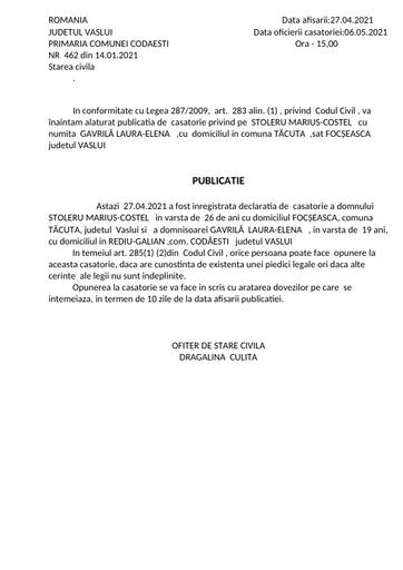 PUblicatie cas  Gavrilă Laura Elerna